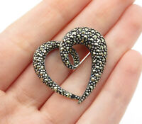 925 Sterling Silver - Vintage Marcasite Decorated Love Heart Pendant - P10183