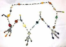 Stephen Dweck OOAK 1987 Sterling Silver Necklace-Semi Precious Stones-Signed-48""