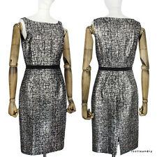 Giambattista Valli Black Metallic Silver Tweed Boucle Shift Dress IT40 UK8