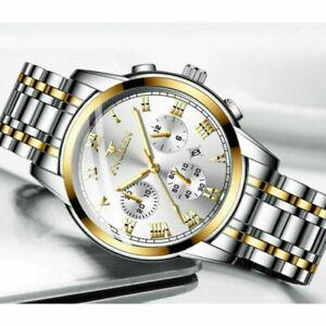 Mens Fashion Watch Quartz Stainless Steel Analog Sports Wrist Watch Gifts UK