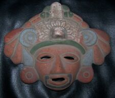 VINTAGE AZTEC MAYAN WARRIOR CHIEF SOUTHWESTERN UNGLAZED TERRA COTTA TRIBAL MASK