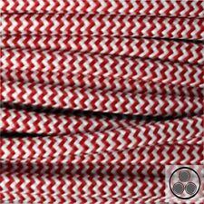 Textilkabel Stoffkabel Lampen-Kabel Stromkabel, Rot Weis Zick-Zack 3 adrig