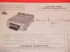 1961 BLAUPUNKT AUTO AM-FM RADIO SERVICE MANUAL MODEL FRANKFURT TRANSISTOR 3798
