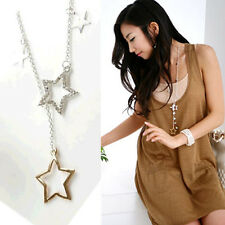 Infinity Charms Silver Gold Crystal Rhinestone Stars Pendant Long Chain Necklace