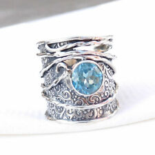 Real Blue Topaz Ring Solid 925 Sterling Silver Wide Band Topaz Men's Ring-S054