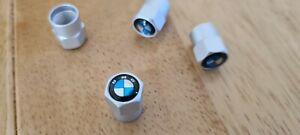 5 x Silver air valve caps Aluminium with Logo no genuine BMW