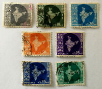 India Map of India Stamps x 7 1958
