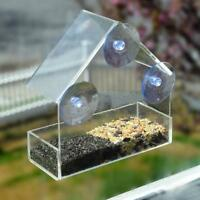 Acrylic Transparent Window Bird Feeder Large Weather Suction Cups Birds House US