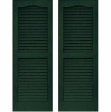 Set of 2 VANTAGE Exterior Louver Arch Shutters 14 x 71 Vinyl MIDNIGHT GREEN USA