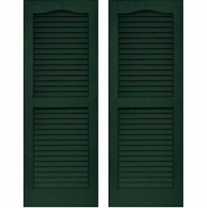 Set of 2 VANTAGE Exterior Louver Arch Shutters 14 x 67 Vinyl MIDNIGHT GREEN USA