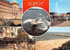 Poland Sopot Grand Hotel Na morzu Skwer Kuracyjny Beach Boat Bateau