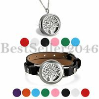 2PCS Aromatherapy Essential Oil Diffuser Locket Necklace Leather & Cuff Bracelet