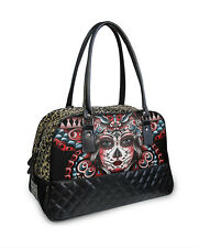 GOTHIC METAL SUGA SKULL BUTTERFLY LEOPARD PRINT PADDED LEATHER BOWLING HANDBAG