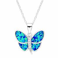 Created Blue Opal & White Sapphire Butterfly Pendant in Sterling Silver