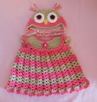 American Girl Doll Clothe HtPink Owl Dress & Hat Fit Bitty Baby/Berenguer 15-17