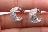 Turkish Rhodium Jewelry 5 Row Cubic Zircon 925 Sterling Silver Hoop Earrings