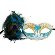 Mint Blue Teal & Gold Peacock Masquerade Mask with Feathers Venetian for Women