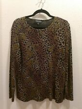 SHARON ANTHONY Size Large Brown Black Gold Dark Berry Long Sleeved Pullover Top