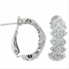 925 Sterling Silver CZ Argyle Hoop Earrings