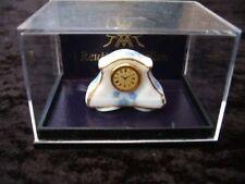 Porcelain Mantlepiece Clock White, Blue Flowers Miniature Dollhouse D18 Reutter