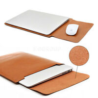 """For 13"""" 13.3""""Laptop Tablet Light Brown Universal Leather Sleeve Bag Pouch Case"""