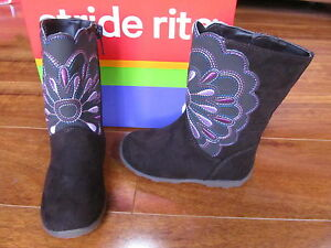 NEW STRIDE RITE Bianca Boots Toddler Girls Sz 4 M Brown w Pink Embriodery $45