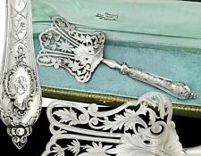 French Sterling Silver Handled Large Asparagus Server - Rococo decoration