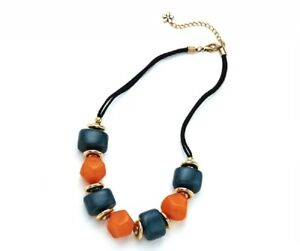 Chunky Geometric Teal Green Orange Beads Suede Strand Antique Gold Dics Necklace