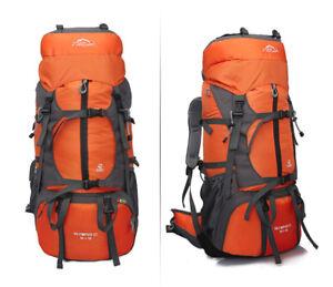 NEU 55L+10L Rucksäcke Trekkingrucksäcke Wanderrucksäck Orange
