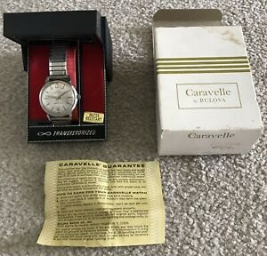 Vintage Caravelle M9 Transistorized Mens Wristwatch Not Running Both Boxes