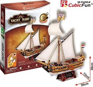 CUBIC FUN 83pcs Yacht Mary Ship Boat DIY 3D Puzzle Model Building Kit Toy