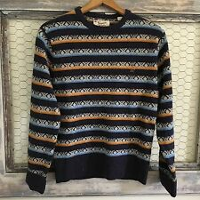 Penguin Wool Sweater Lambswool Fair Isle Blue Medium Men's