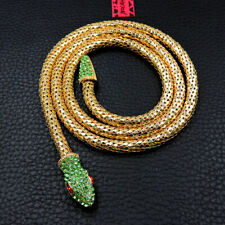 Enamel Betsey Johnson Fashion Jewelry Pendant Rhinestone Green Snake Necklace