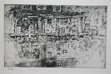 AMSTERDAM CANAL, HOLLAND : J A McNeill Whistler 1927 LITHOGRAPH of Etching