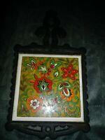 Vtg Floral Trivet Tile Cast Iron Metal Cherry Japan RedPot Holder