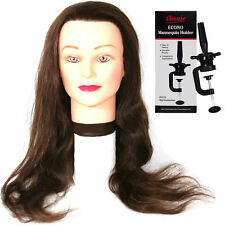 "100% Human Hair Salon Practice Training Head (23-26"") with Mannequin Clamp"
