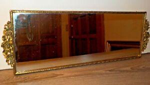 "Vintage Gold Tone Vanity Dresser Mirror Mirrored Tray Rectangle 18"" x 6.25"""