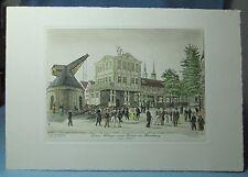 German Hand Colored ENGRAVING Kran Waage und orse in Hamburg 1830