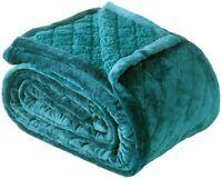 Bianca Mansfield Teal Ultra Soft Velvet Blanket 480gsm   Sherpa reverse