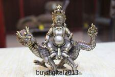 "6"" Old Tibet Buddhism Temple Pure Silver Gold Dragon Vaishravana Buddha Statue"