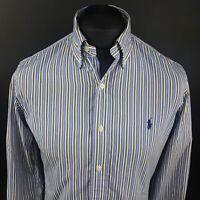Polo Ralph Lauren Mens Shirt SMALL Long Sleeve Blue Custom Fit Striped Cotton