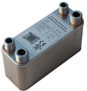 Plattenwärmetauscher B3-12-40 mit 2x1/2 & 2x3/4 Zoll Anschl. 80kW Heizung Solar