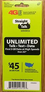 $45 STRAIGHT TALK 30-DAY REFILL NO CONTRACT 25GB 4G PREPAID WIRELESS PHONE CARD