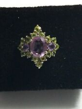 Vintage Amethyst Peridot sterling silver ring 925 sz 7 cocktail estate sparkles