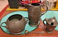 Antique Kayserzinn Art Nouveau Art Deco Pewter Germany RARE 4 pc Tea Set NICE!