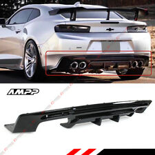 For 2016-18 Chevy Camaro Gloss Black Shark Fin Rear Bumper Diffuser Replacement