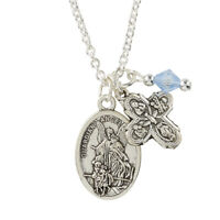 Lovely Guardian Angel/St. Michael Medal with Four Way Cross Facet Charm Pendant