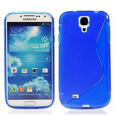 Samsung Galaxy S4 TPU Silikon Case Schutz Hülle Bumper S-Line Blau + Folie