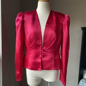 Vintage 80s Puff Sleeve Hot Pink Satin GLAM Tail Statement Jacket Blazer M USA