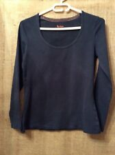 Boden Size 14 Long Sleeve Navy Blue Round Neck Cotton Top
